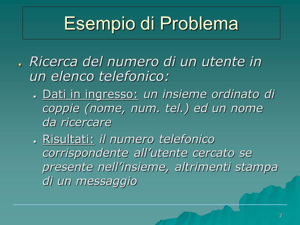 Esempio di Problema Ricerca del numero di un utente in un elenco telefonico: