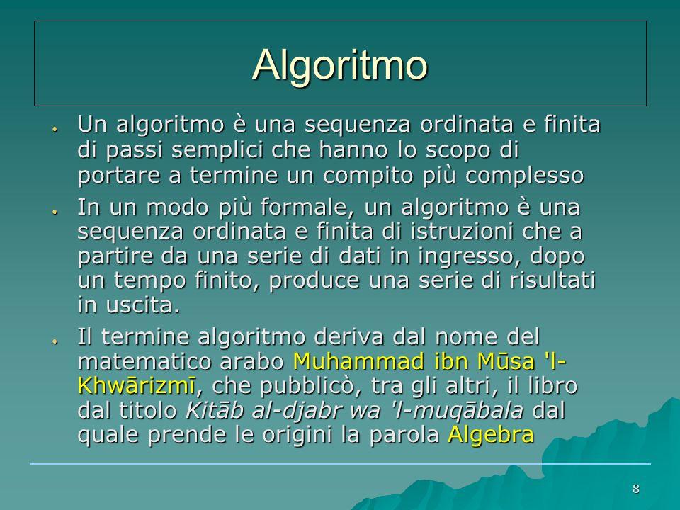 Algoritmo Un algoritmo è una sequenza ordinata e finita di passi semplici che hanno lo scopo di portare a termine un compito più complesso.