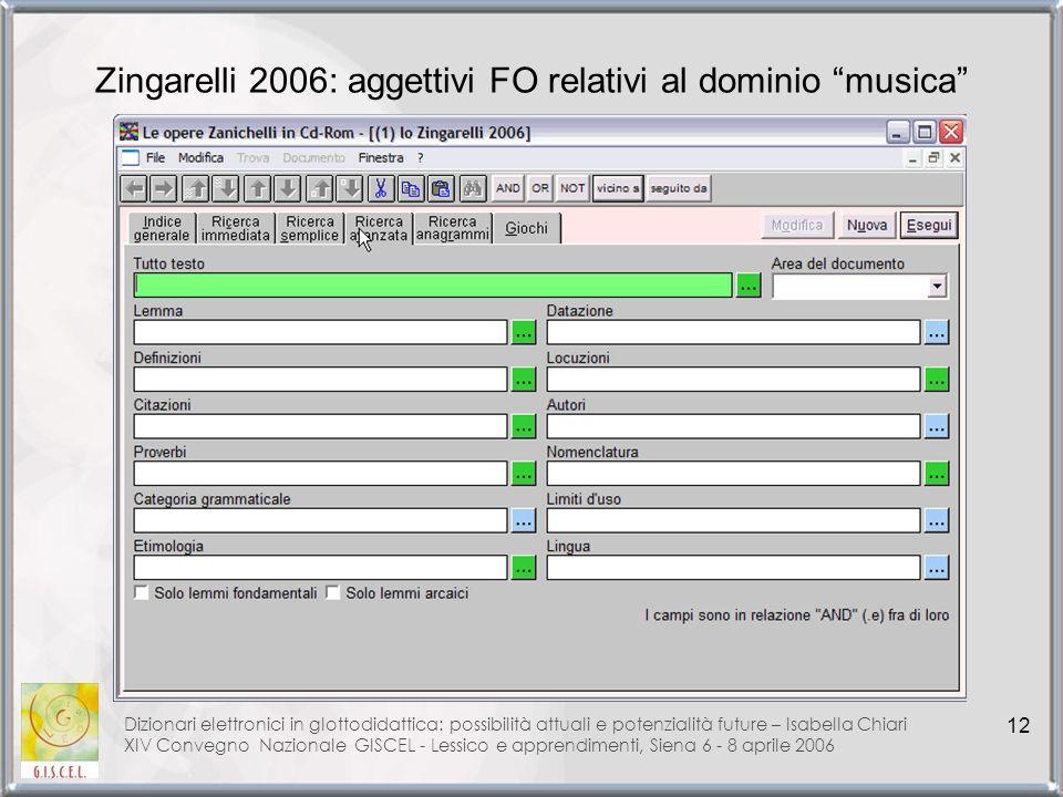 Zingarelli 2006: aggettivi FO relativi al dominio musica