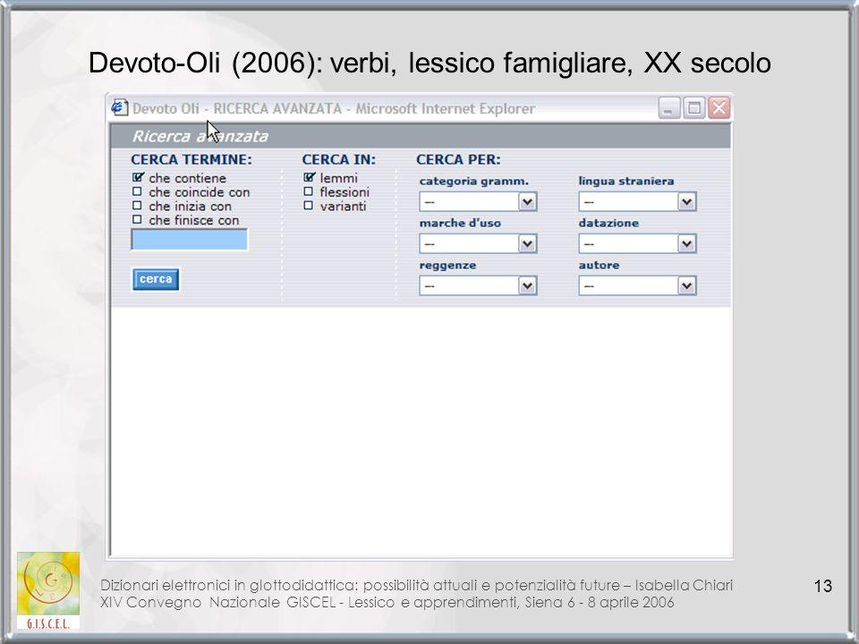 Devoto-Oli (2006): verbi, lessico famigliare, XX secolo