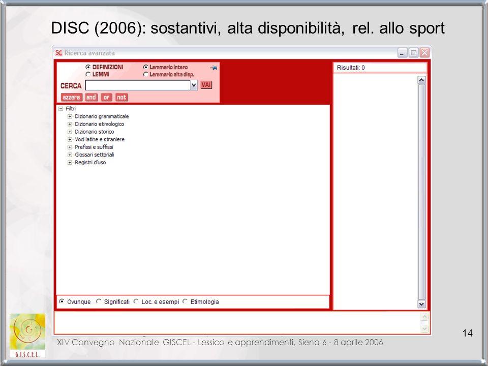 DISC (2006): sostantivi, alta disponibilità, rel. allo sport