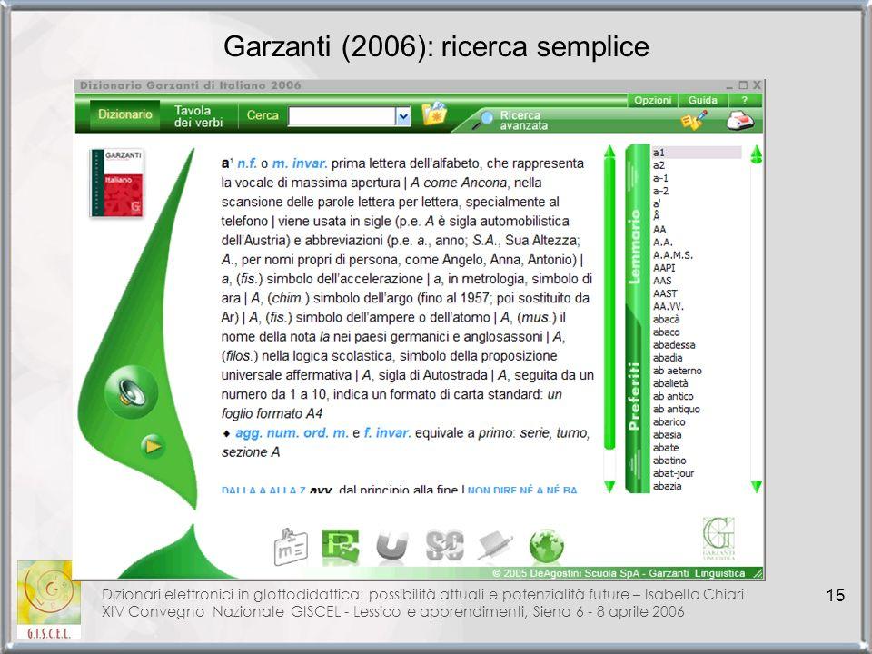 Garzanti (2006): ricerca semplice