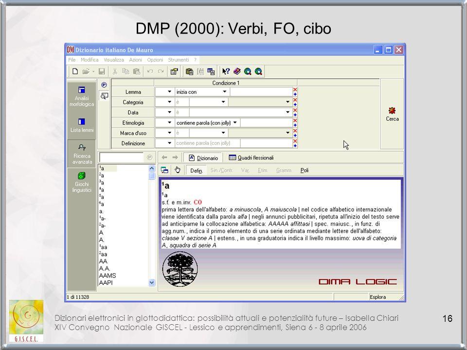 DMP (2000): Verbi, FO, cibo Dizionari elettronici in glottodidattica: possibilità attuali e potenzialità future – Isabella Chiari.