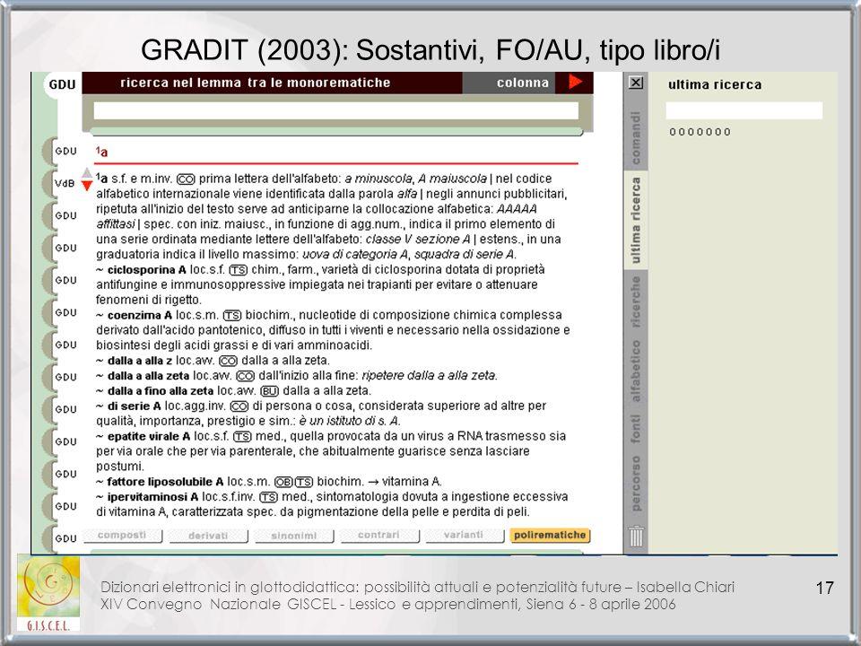 GRADIT (2003): Sostantivi, FO/AU, tipo libro/i