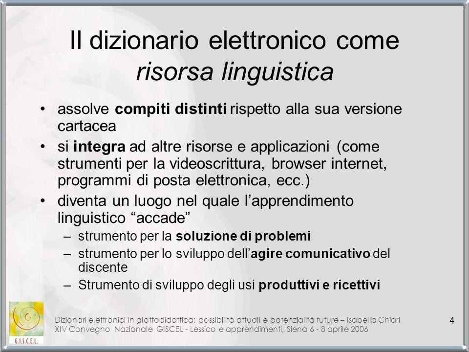 Il dizionario elettronico come risorsa linguistica