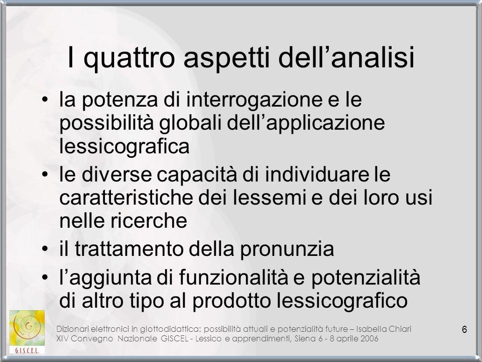 I quattro aspetti dell'analisi
