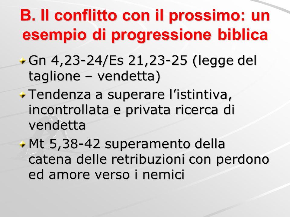 B. Il conflitto con il prossimo: un esempio di progressione biblica