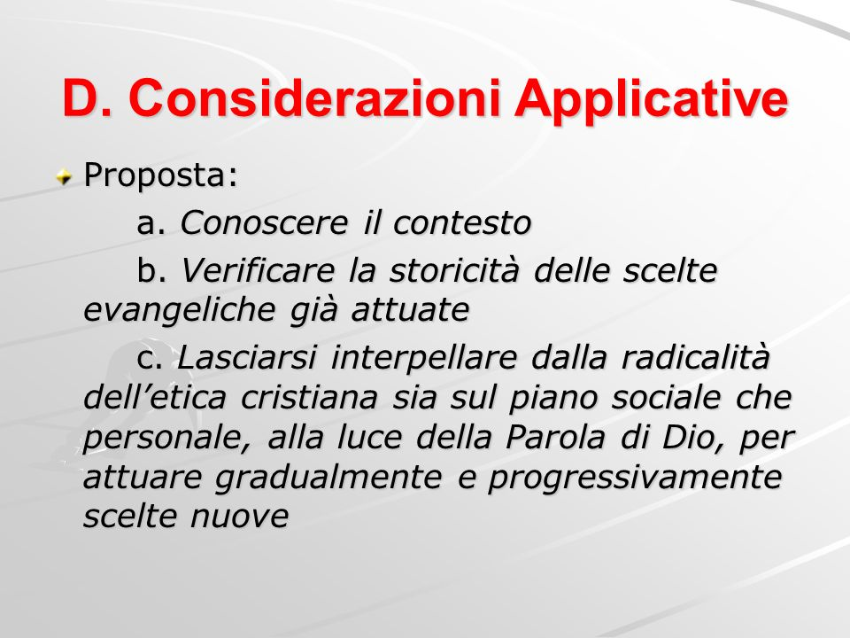 D. Considerazioni Applicative
