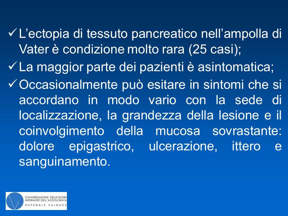 L'ectopia di tessuto pancreatico nell'ampolla di Vater è condizione molto rara (25 casi);