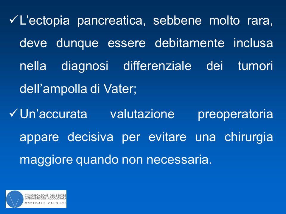 L'ectopia pancreatica, sebbene molto rara, deve dunque essere debitamente inclusa nella diagnosi differenziale dei tumori dell'ampolla di Vater;
