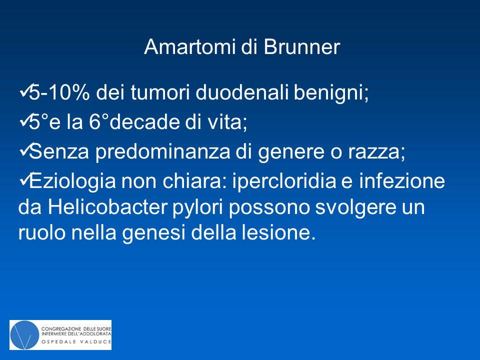 Amartomi di Brunner 5-10% dei tumori duodenali benigni; 5°e la 6°decade di vita; Senza predominanza di genere o razza;