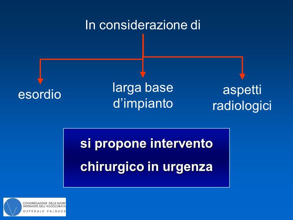 si propone intervento chirurgico in urgenza