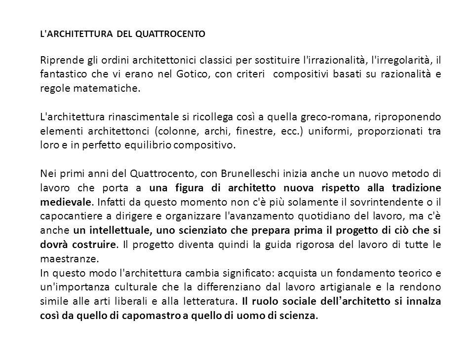 L ARCHITETTURA DEL QUATTROCENTO