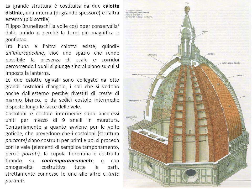 La grande struttura è costituita da due calotte distinte, una interna (di grande spessore) e l altra esterna (più sottile)