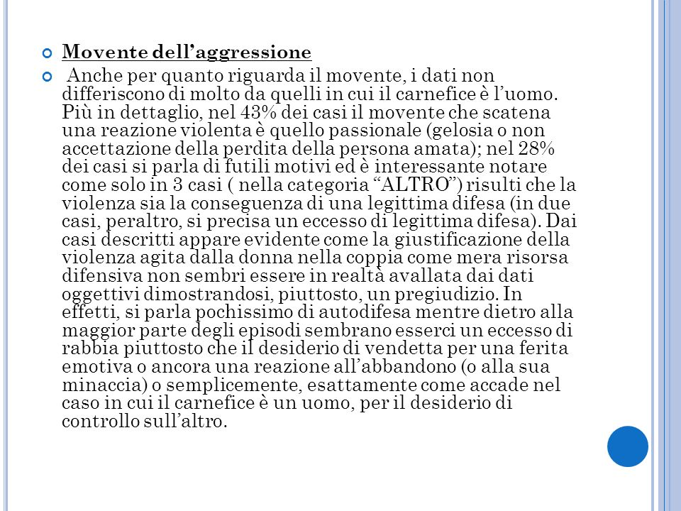 Movente dell'aggressione
