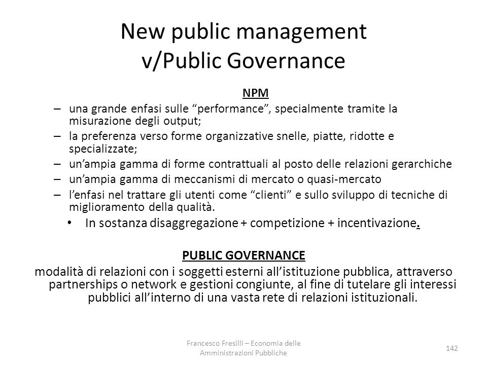 New public management v/Public Governance