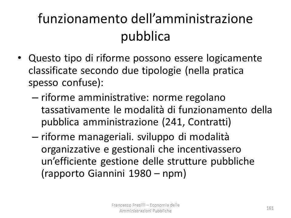 funzionamento dell'amministrazione pubblica