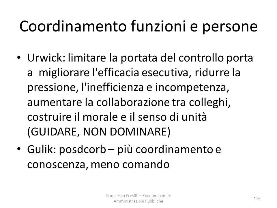 Coordinamento funzioni e persone