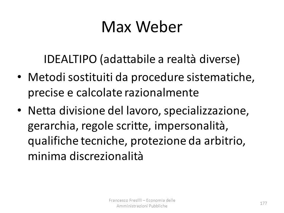 Max Weber IDEALTIPO (adattabile a realtà diverse)