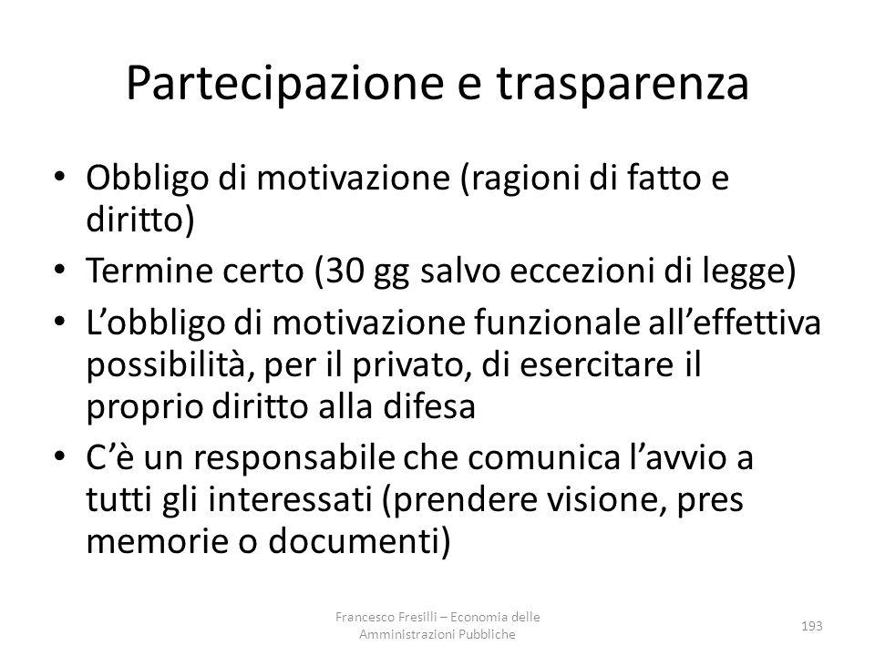 Partecipazione e trasparenza