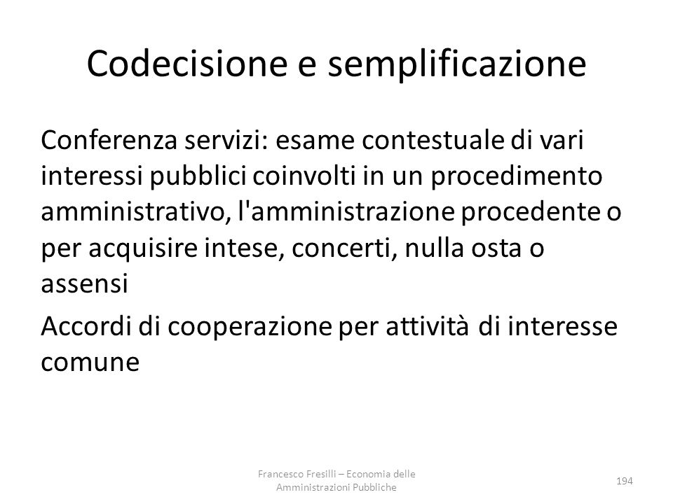 Codecisione e semplificazione