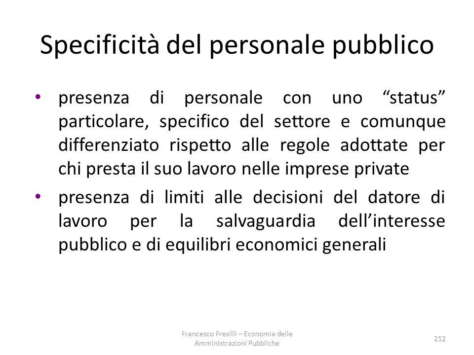 Specificità del personale pubblico
