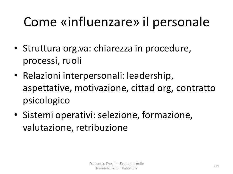 Come «influenzare» il personale