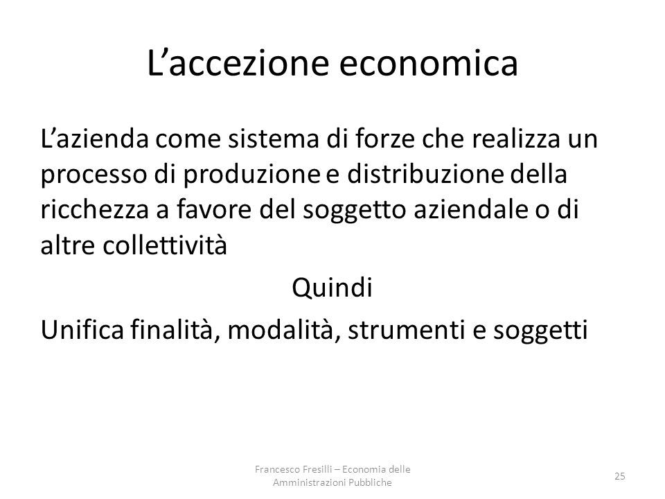 L'accezione economica