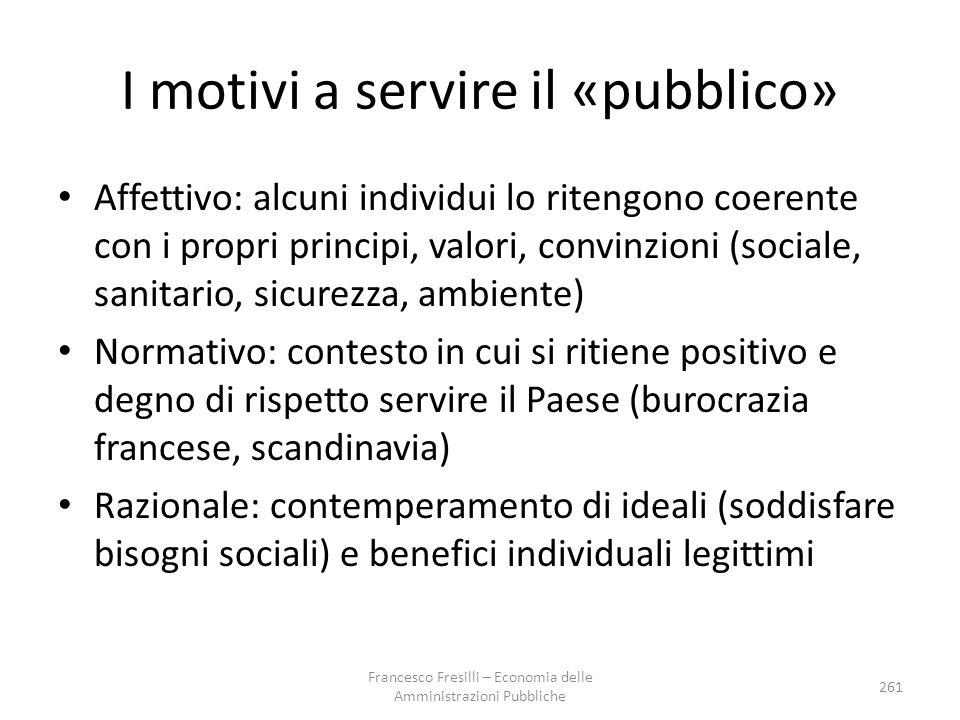 I motivi a servire il «pubblico»
