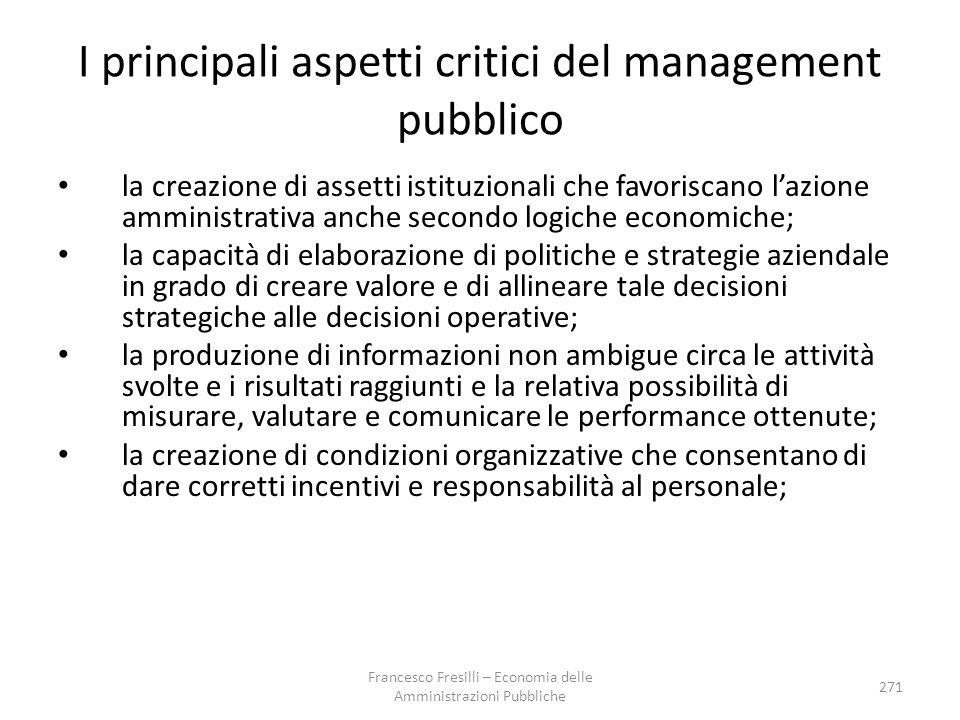 I principali aspetti critici del management pubblico