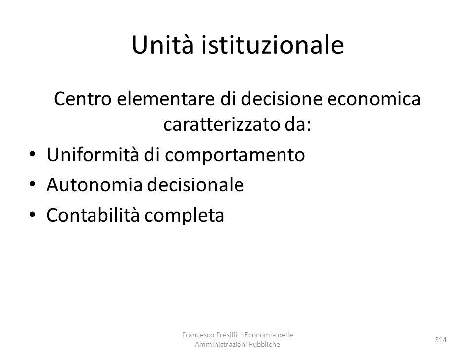 Unità istituzionale Centro elementare di decisione economica caratterizzato da: Uniformità di comportamento.