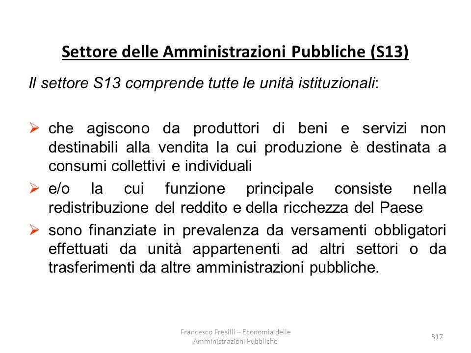 Settore delle Amministrazioni Pubbliche (S13)