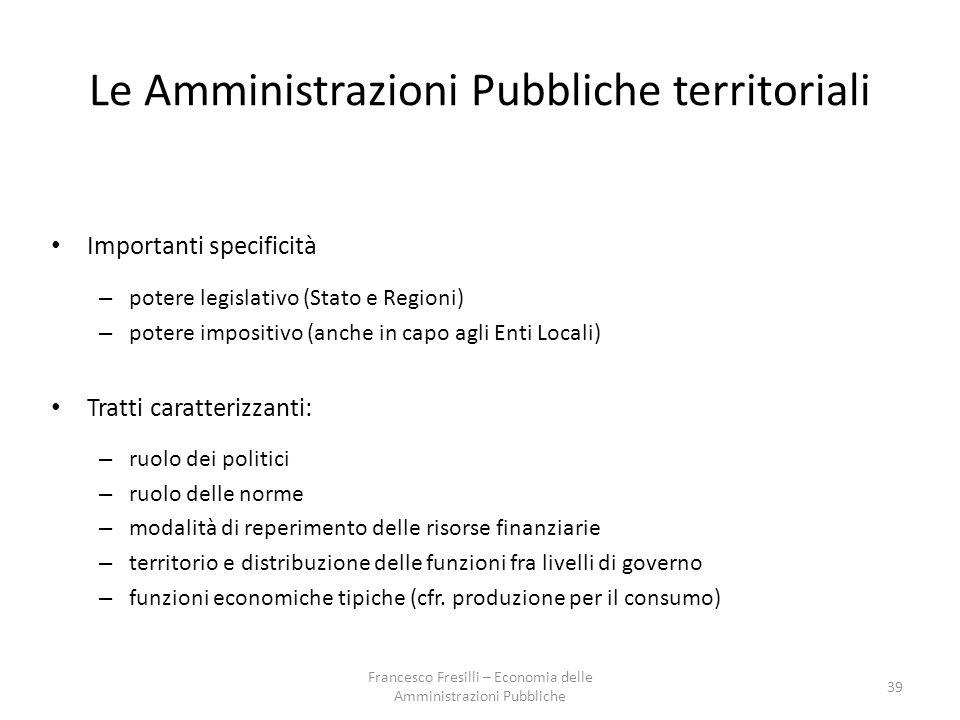 Le Amministrazioni Pubbliche territoriali