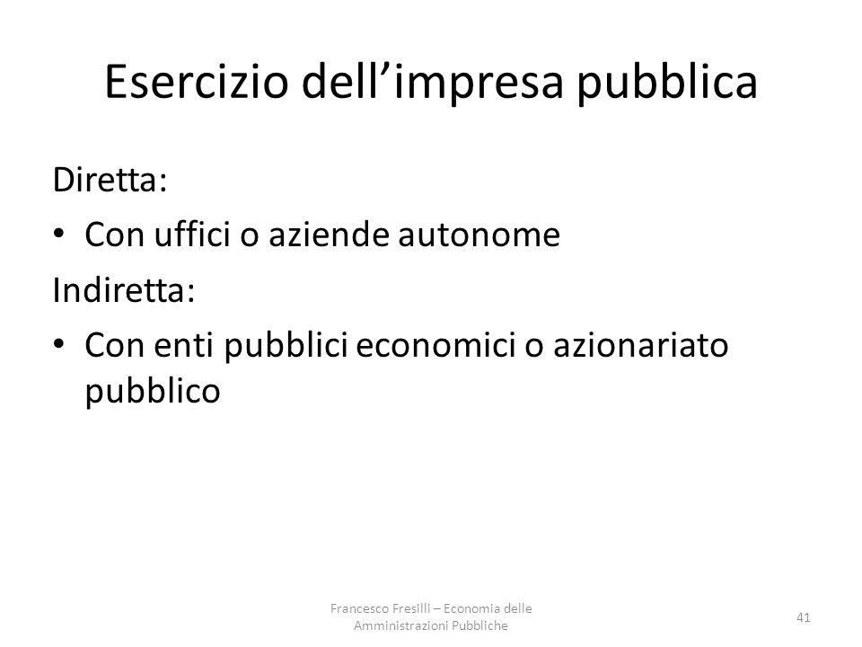 Esercizio dell'impresa pubblica
