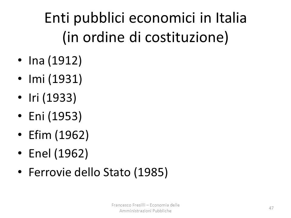 Enti pubblici economici in Italia (in ordine di costituzione)