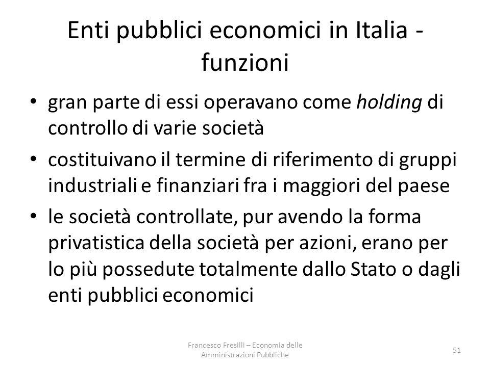 Enti pubblici economici in Italia - funzioni