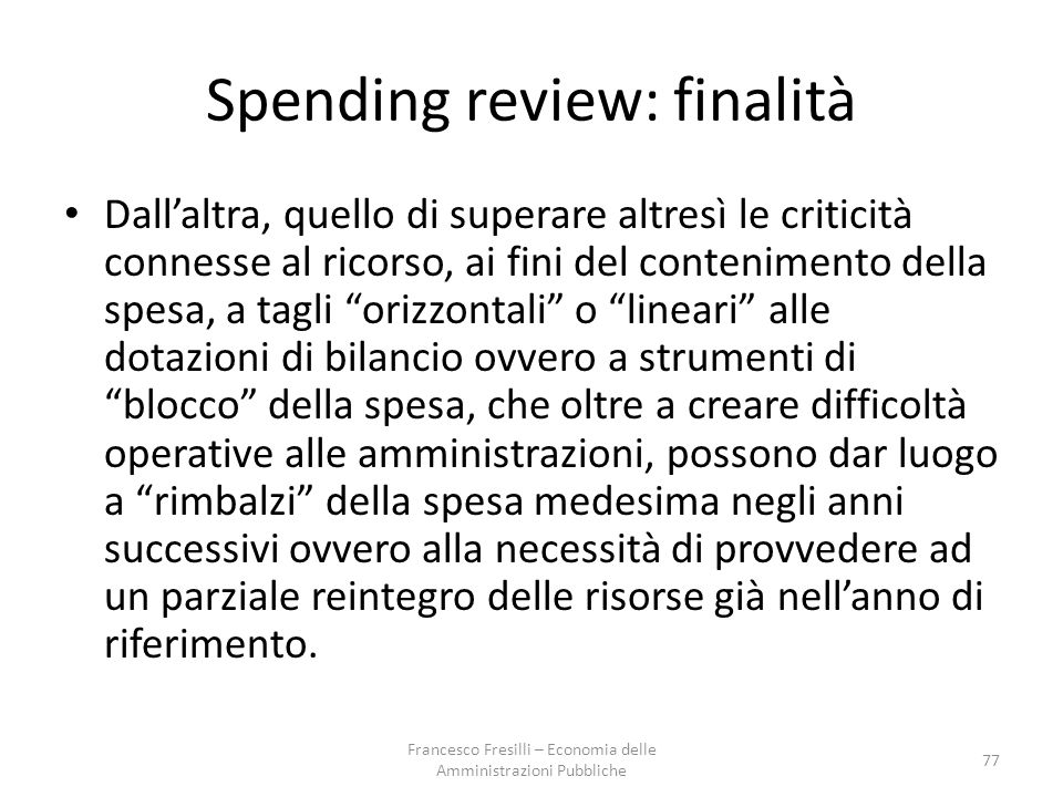 Spending review: finalità