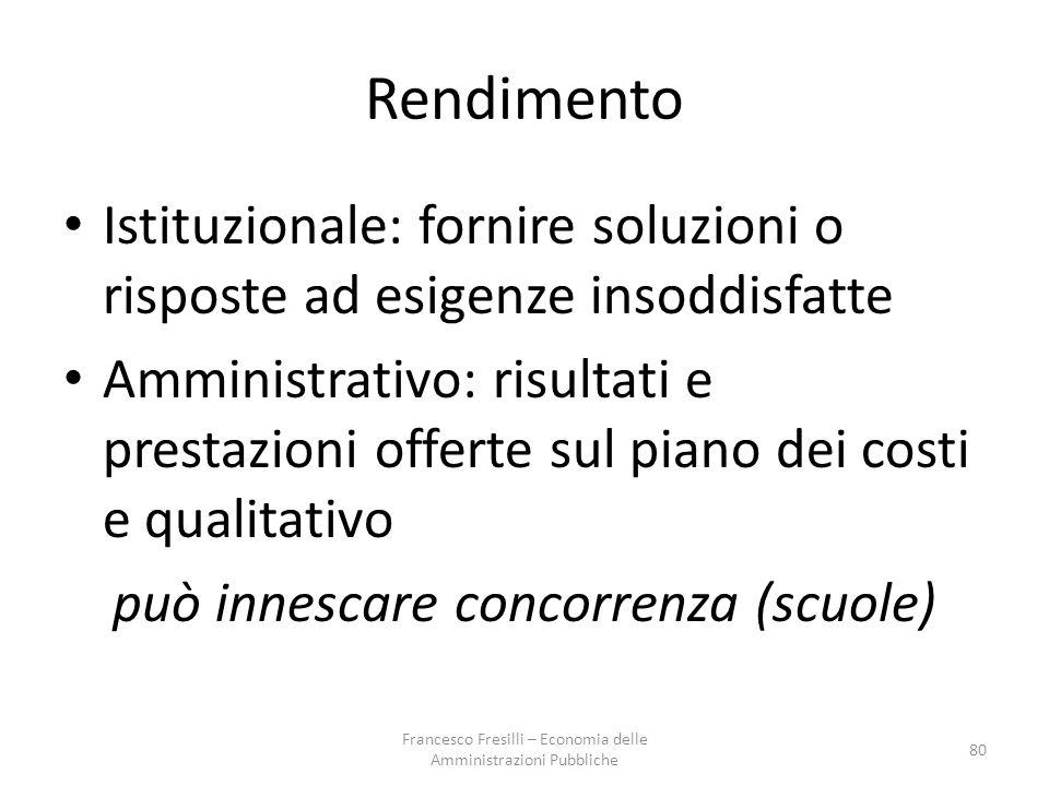 Rendimento Istituzionale: fornire soluzioni o risposte ad esigenze insoddisfatte.