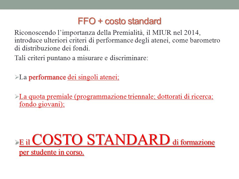 FFO + costo standard