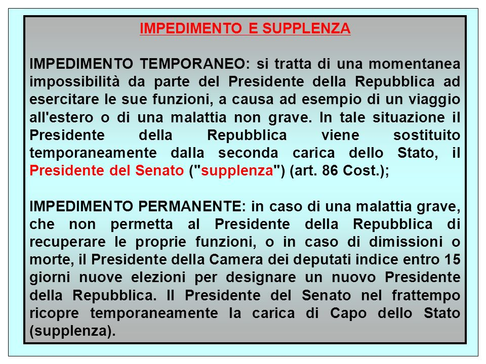 IMPEDIMENTO E SUPPLENZA