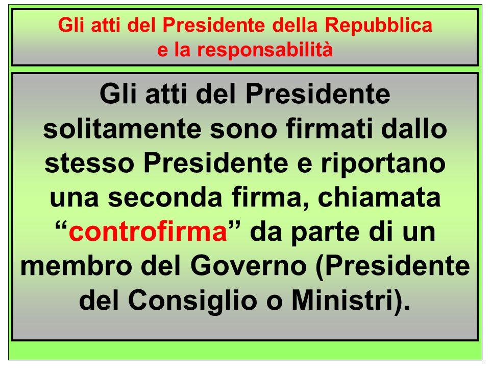 Gli atti del Presidente della Repubblica