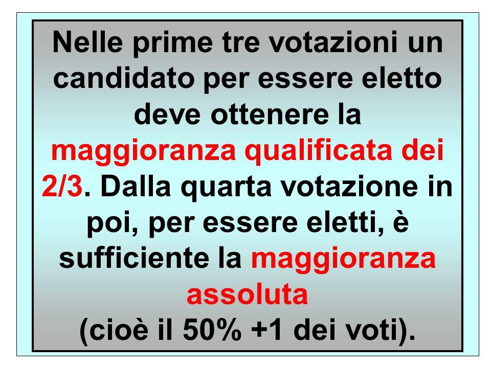 Nelle prime tre votazioni un candidato per essere eletto deve ottenere la maggioranza qualificata dei 2/3. Dalla quarta votazione in poi, per essere eletti, è sufficiente la maggioranza assoluta