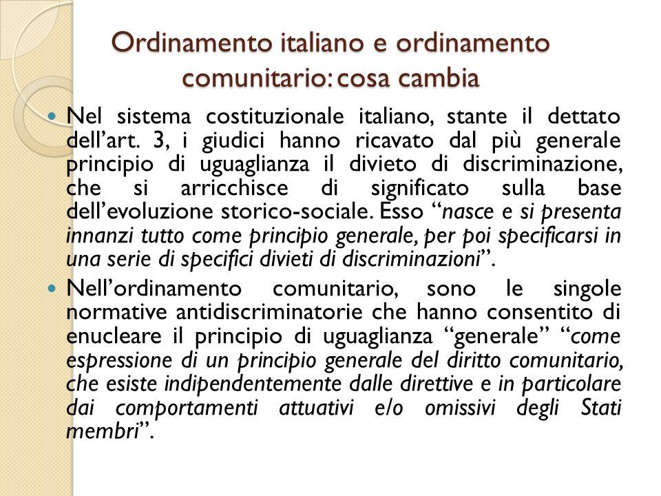 Ordinamento italiano e ordinamento comunitario: cosa cambia
