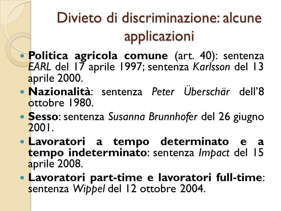 Divieto di discriminazione: alcune applicazioni