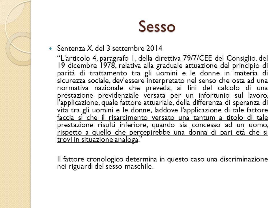 Sesso Sentenza X. del 3 settembre 2014