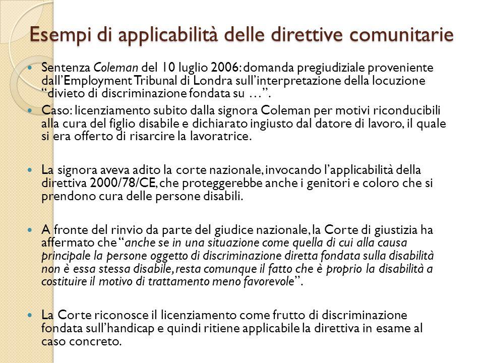 Esempi di applicabilità delle direttive comunitarie