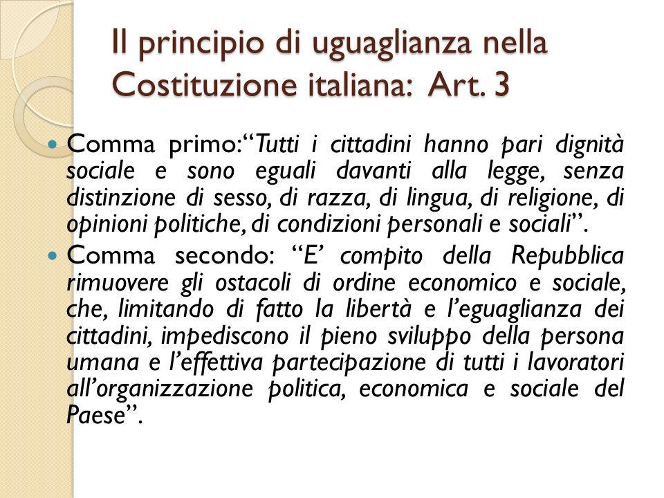 Il principio di uguaglianza nella Costituzione italiana: Art. 3