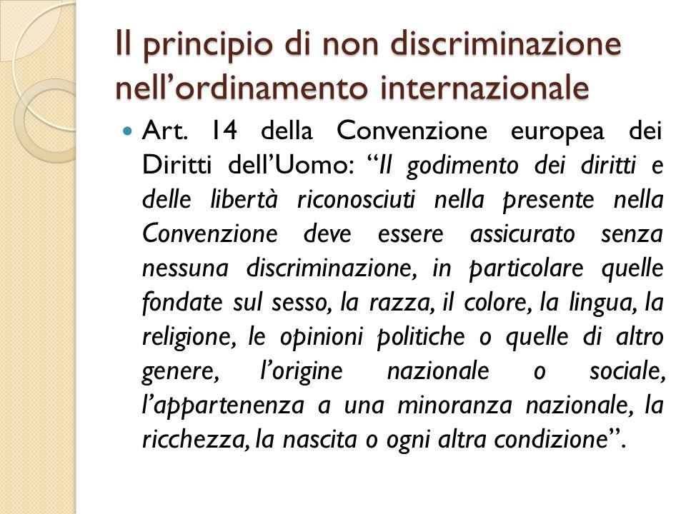 Il principio di non discriminazione nell'ordinamento internazionale