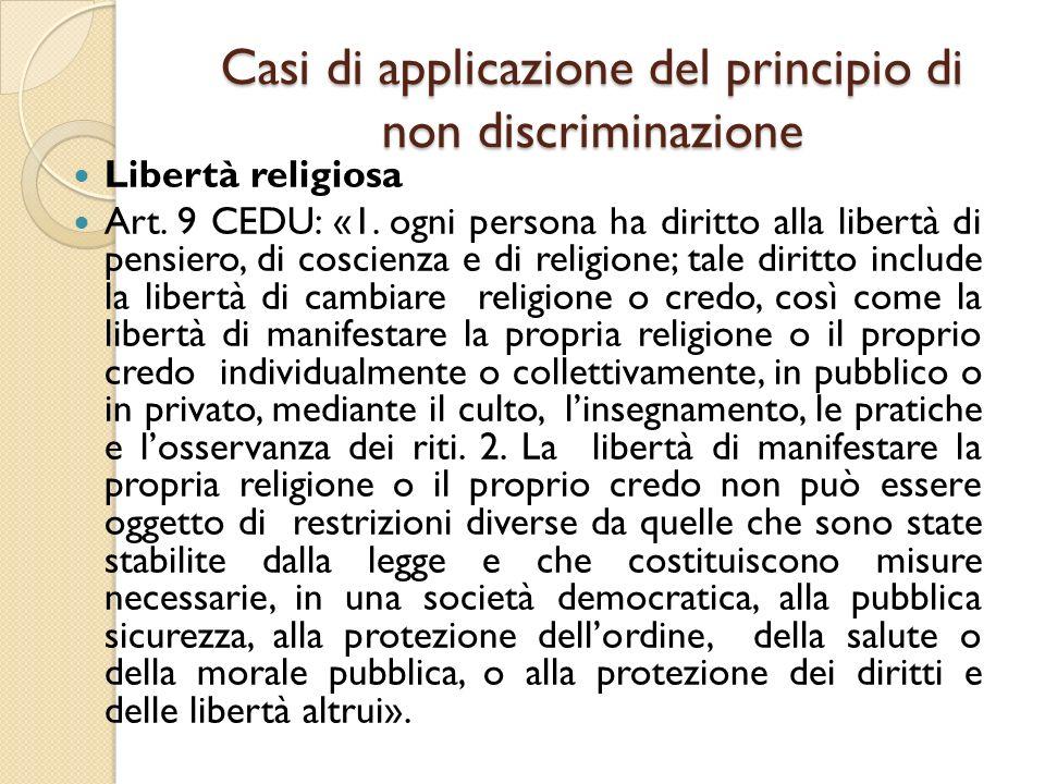 Casi di applicazione del principio di non discriminazione