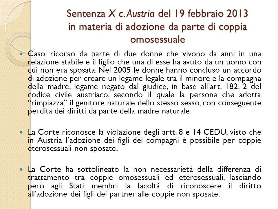 Sentenza X c. Austria del 19 febbraio 2013 in materia di adozione da parte di coppia omosessuale